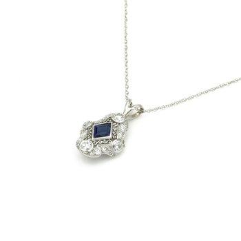 ART DECO PLATINUM 14K 1.0 CT EURO CUT DIAMOND KITE SAPPHIRE NECKLACE #E0319-67