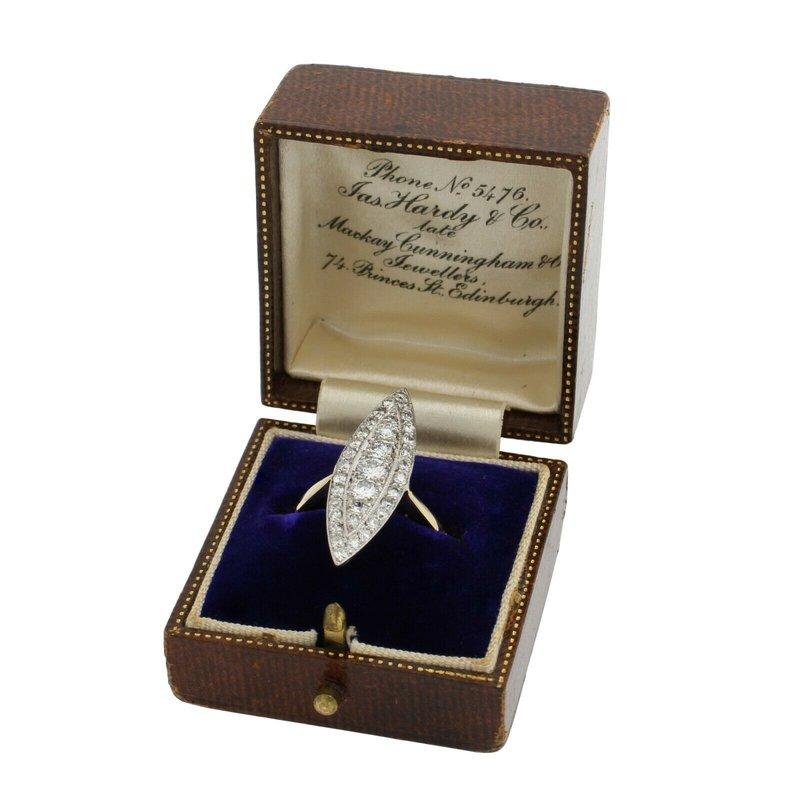 Antique ANTIQUE PLATINUM 18K GOLD .91 CTW OLD EURO DIAMOND BOAT RING W/ ORIG BOX E1183-3