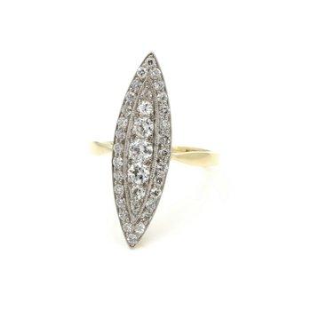 ANTIQUE PLATINUM 18K GOLD .91 CTW OLD EURO DIAMOND BOAT RING W/ ORIG BOX E1183-3