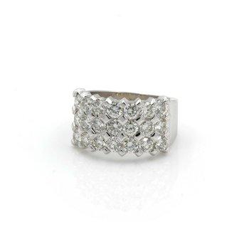 14K WHITE GOLD 2.50 CTW ROUND BRILLIANT DIAMOND 3 ROW BAND RING SIZE 5.5 J2918-3