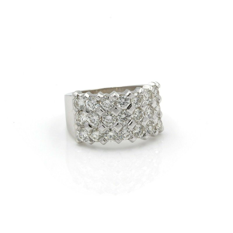 National Rarities 14K WHITE GOLD 2.50 CTW ROUND BRILLIANT DIAMOND 3 ROW BAND RING SIZE 5.5 J2918-3