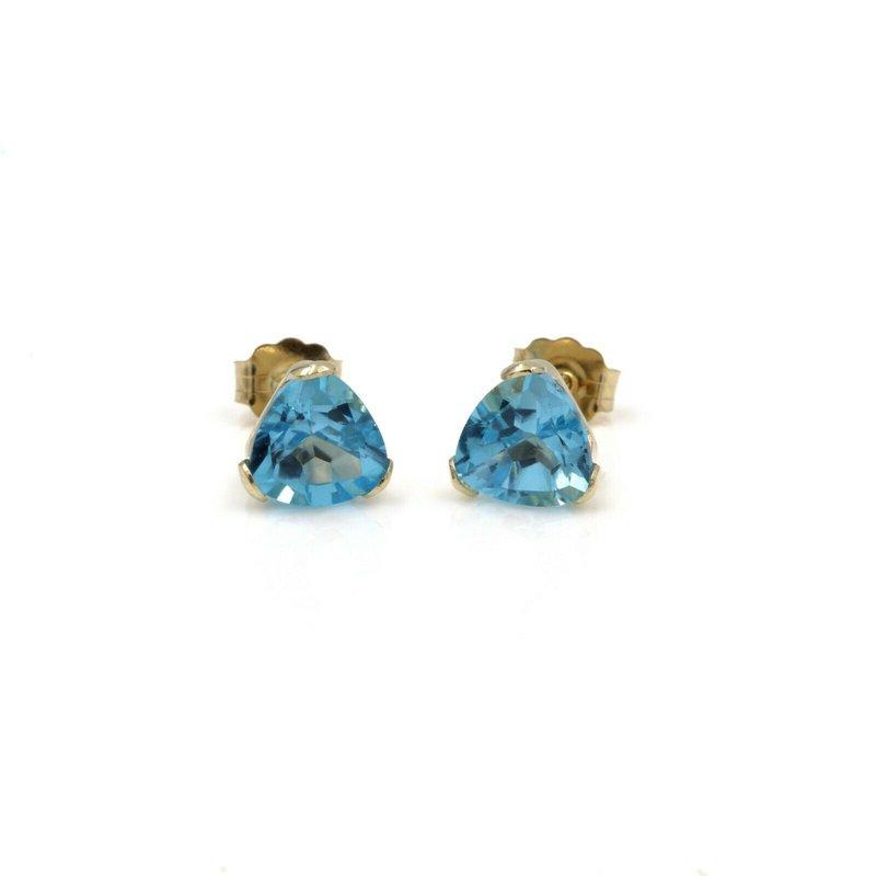 National Rarities 14K GOLD 3.00 CTW TRILLION CUT BLUE TOPAZ BASKET STYLE STUD EARRINGS #1024B-9