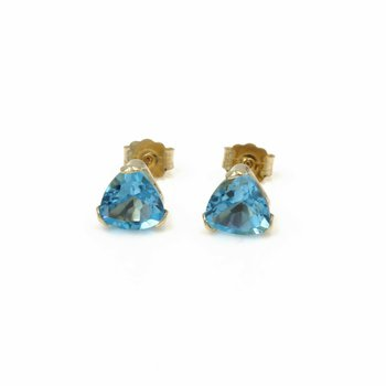 14K GOLD 3.00 CTW TRILLION CUT BLUE TOPAZ BASKET STYLE STUD EARRINGS #1024B-9