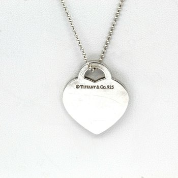 "TIFFANY & CO STERLING SILVER ""MOM"" HEART PENDANT NECKLACE 20"" #1019B-7"