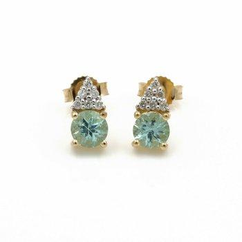 14K YELLOW GOLD ROUND MINT TOURMALINE DIAMOND ACCENT STUD EARRINGS #JB74-2