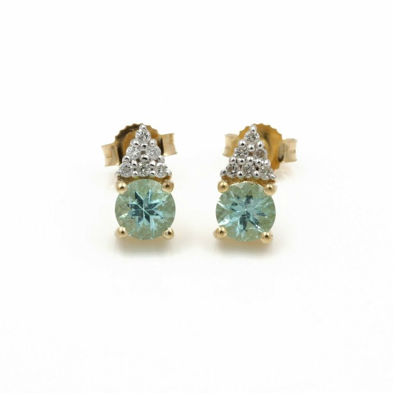 National Rarities 14K YELLOW GOLD ROUND MINT TOURMALINE DIAMOND ACCENT STUD EARRINGS #JB74-2