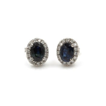 14K WHITE GOLD CLASSIC OVAL SAPPHIRE AND DIAMOND HALO STUD EARRINGS #1003B-4