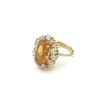 18K GOLD 7.15 CT CITRINE AND 1.28 CTW DIAMOND RING WITH ADJUSTABLE SHANK #E-112