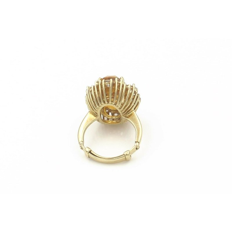 National Rarities 18K GOLD 7.15 CT CITRINE AND 1.28 CTW DIAMOND RING WITH ADJUSTABLE SHANK #E-112