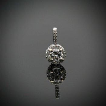 14K WHITE GOLD .31 CTW ROUND WHITE DIAMOND HALO PENDANT CLASSIC PETITE #983B-2