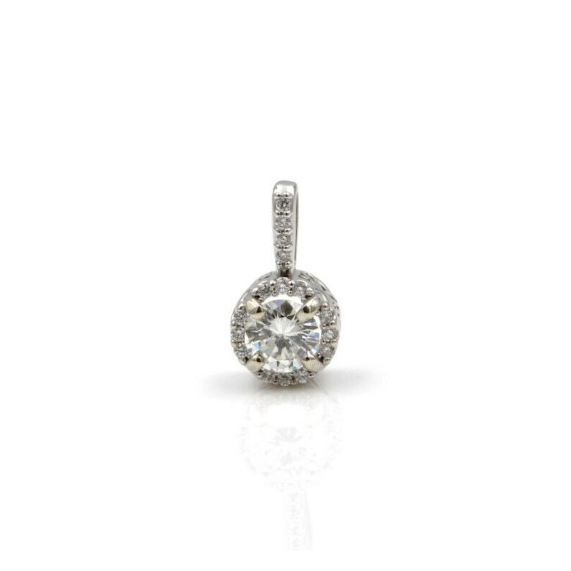 National Rarities 14K WHITE GOLD .31 CTW ROUND WHITE DIAMOND HALO PENDANT CLASSIC PETITE #983B-2
