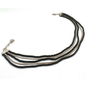 JOHN HARDY STERLING SILVER ONYX BEAD MULTI STRAND NECKLACE TOGGLE CLASP D6-10