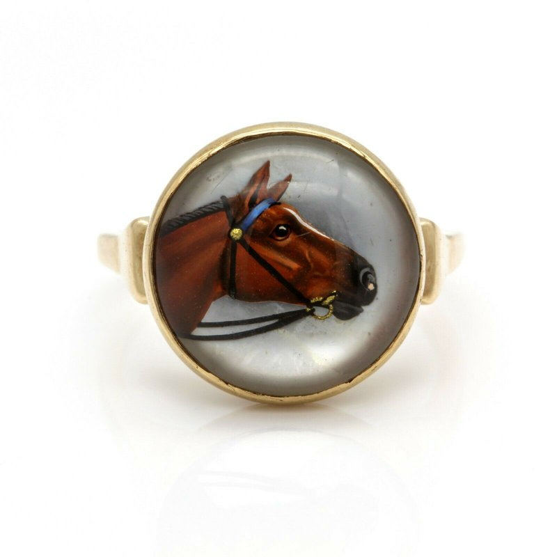 Unbranded 15K YELLOW GOLD REVERSE PAINTED HORSE ESSEX CRYSTAL QUARTZ RING #JB71-3