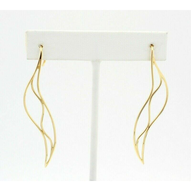 Tiffany Co TIFFANY & CO 18K SOLID GOLD ELSA PERETTI WAVE DROP EARRINGS #D20-10
