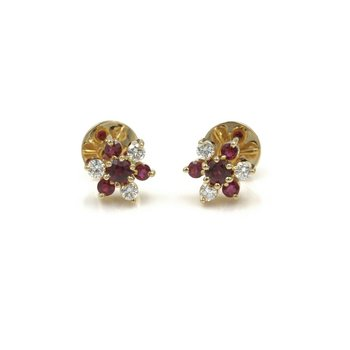 VINTAGE RUBY DIAMOND FLOWER CLUSTER STUD EARRINGS YELLOW GOLD 14K NO RES 987B-5