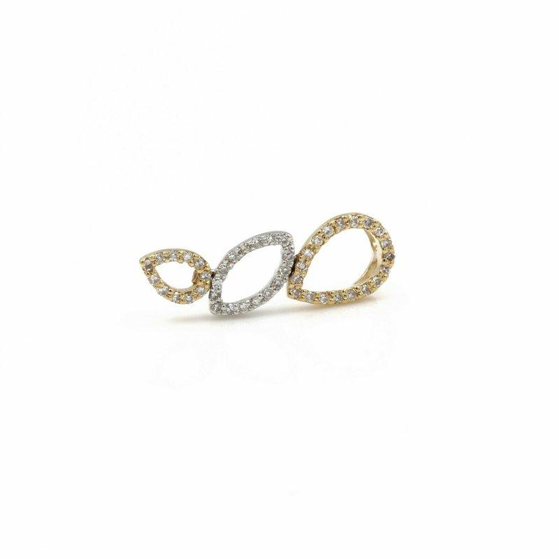 National Rarities 14K TRI TONE GOLD DIAMOND DROP DANGLE PENDANT 0.12 CTW SINGLE CUT FINE 1089B-10