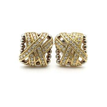 LAGOS STERLING & 18K GOLD .80 CTW DIAMOND CAVIAR EMBRACE STUD EARRINGS #1102B-6