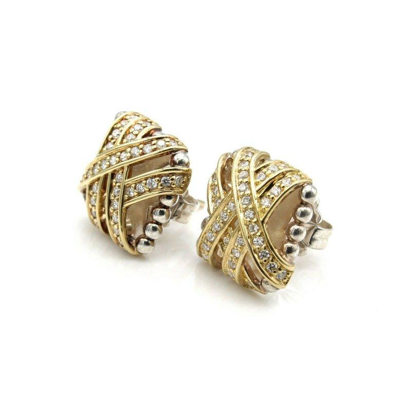 Lagos LAGOS STERLING & 18K GOLD .80 CTW DIAMOND CAVIAR EMBRACE STUD EARRINGS #1102B-6