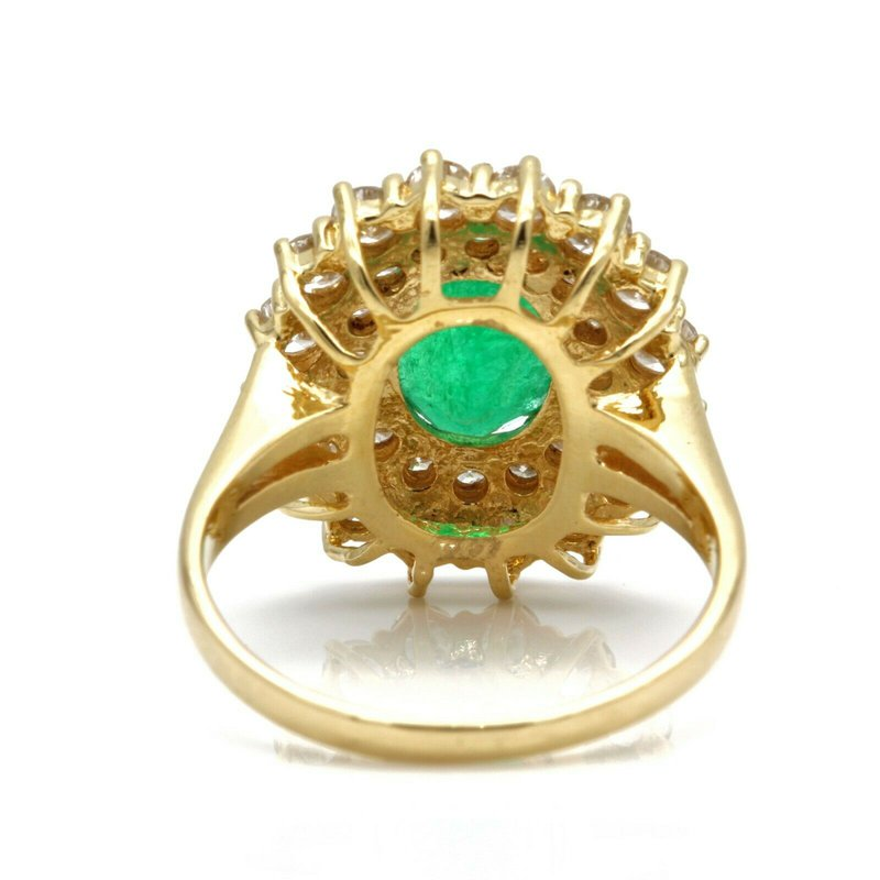 Unbranded LADIES 18K YELLOW GOLD OVAL EMERALD & DIAMONDS 2.98CTW! CLUSTER RING  #J1997-2