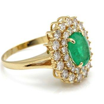 LADIES 18K YELLOW GOLD OVAL EMERALD & DIAMONDS 2.98CTW! CLUSTER RING  #J1997-2