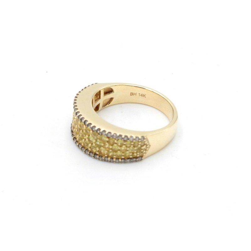 Effy EFFY 14K YELLOW GOLD PAVE YELLOW SAPPHIRE CHAMPAGNE DIAMOND RING SIZE 7 D5-10