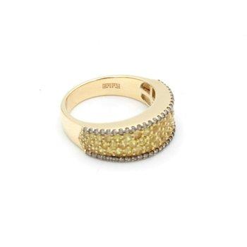 EFFY 14K YELLOW GOLD PAVE YELLOW SAPPHIRE CHAMPAGNE DIAMOND RING SIZE 7 D5-10