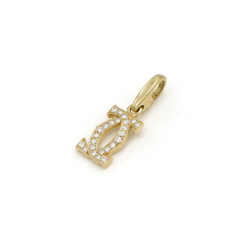 Cartier CARTIER 18K GOLD VINTAGE DOUBLE LOGO DIAMOND PENDANT CHARM .30CTW CLASP #1009B-4