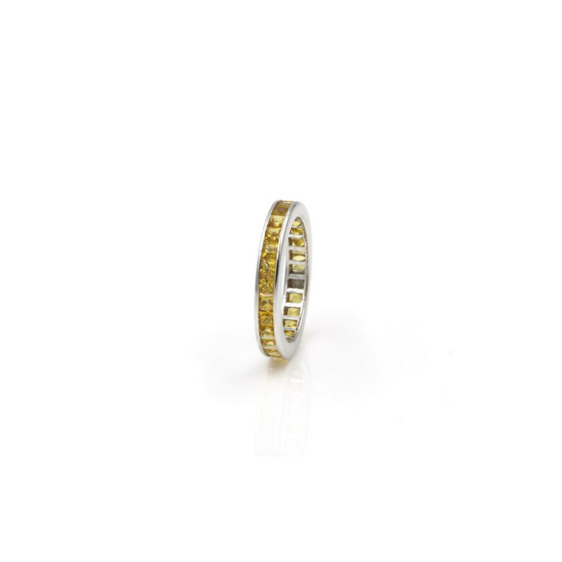 Eternity 18K WHITE GOLD 4.68 CTW PRINCESS CUT YELLOW SAPPHIRE ETERNITY BAND #1020B-3