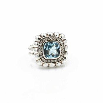 JOHN HARDY STERLING SILVER BATU BEDEG BLUE TOPAZ DIAMOND RING SIZE 7 #D11-5