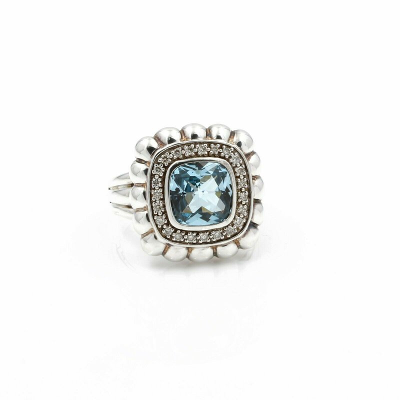 John Hardy JOHN HARDY STERLING SILVER BATU BEDEG BLUE TOPAZ DIAMOND RING SIZE 7 #D11-5