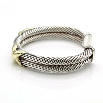 DAVID YURMAN DOUBLE CABLE X CUFF BRACELET 10 MM 14K GOLD AND STERLING D100-4