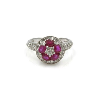 14K WHITE GOLD VINTAGE 1.45 CTW RUBY & DIAMOND CLUSTER RING SIZE 6 #990B-6
