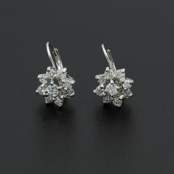 14K WHITE GOLD .68 CTW ROUND DIAMOND CLUSTER FLOWER EARRINGS NICE #982B-3