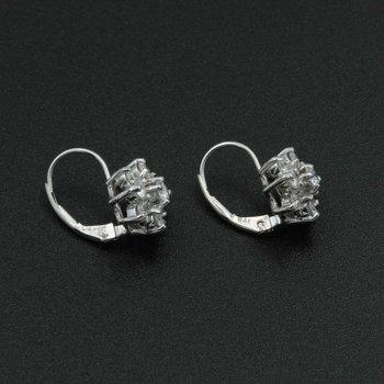 14K WHITE GOLD .68 CTW ROUND DIAMOND CLUSTER FLOWER EARRINGS NICE #982B-3