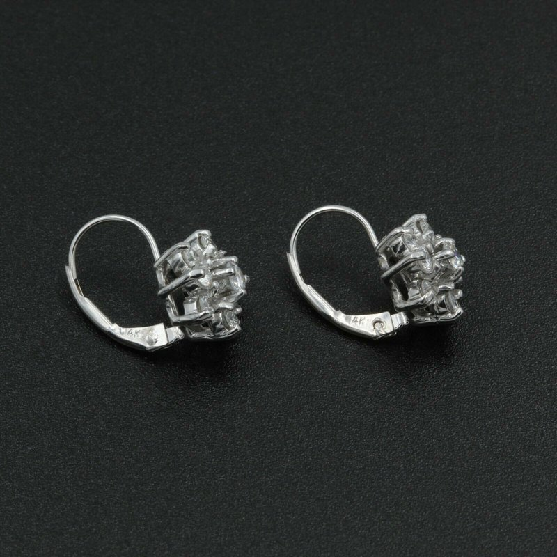National Rarities 14K WHITE GOLD .68 CTW ROUND DIAMOND CLUSTER FLOWER EARRINGS NICE #982B-3