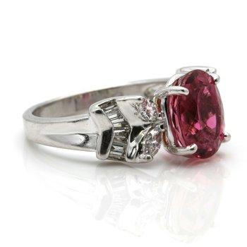 PLATINUM PINK TOURMALINE OVAL RING & DIAMONDS MARQUISE BAGUETTE 3.44 CTW JB36-7