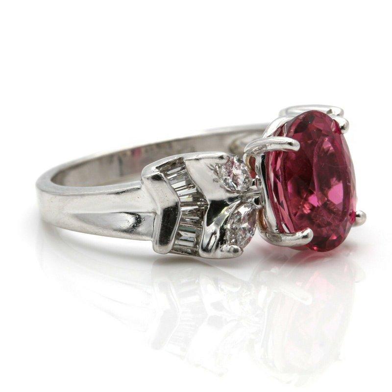 National Rarities PLATINUM PINK TOURMALINE OVAL RING & DIAMONDS MARQUISE BAGUETTE 3.44 CTW JB36-7