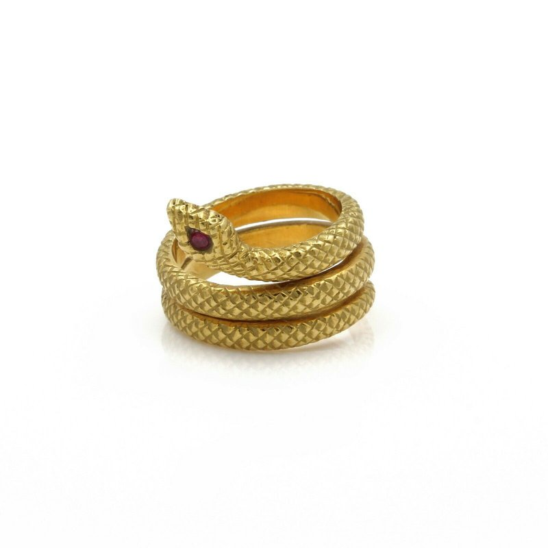 National Rarities 18K SOLID GOLD SERPENT SNAKE RING W/ A ROUND BRILLIANT RUBY EYE COILED J767-3