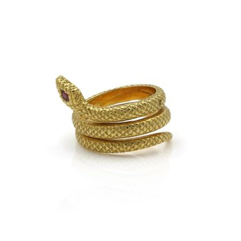 18K SOLID GOLD SERPENT SNAKE RING W/ A ROUND BRILLIANT RUBY EYE COILED J767-3