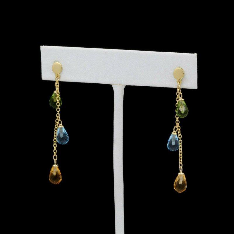 National Rarities 14k GOLD DROP EARRINGS w/ CITRINE, TOPAZ & PERIDOT GEMSTONES NO RESERVE #J3-6