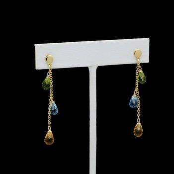 14k GOLD DROP EARRINGS w/ CITRINE, TOPAZ & PERIDOT GEMSTONES NO RESERVE #J3-6