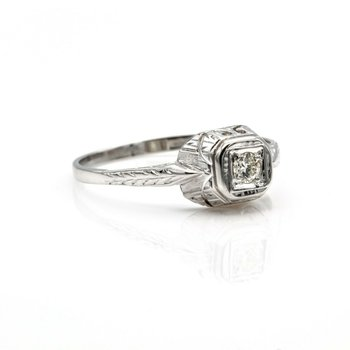18K/14K WHITE GOLD .10 CT ROUND BRILLIANT CUT DIAMOND RING VINTAGE NICE #1016B-7