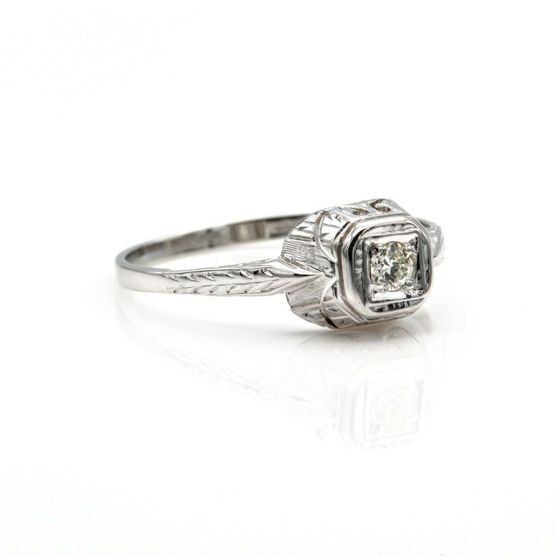 National Rarities 18K/14K WHITE GOLD .10 CT ROUND BRILLIANT CUT DIAMOND RING VINTAGE NICE #1016B-7