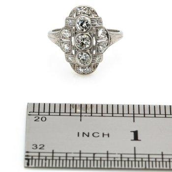 ART DECO STYLE PLATINUM OLD EUROPEAN CUT DIAMOND RING 0.80 CTW SIZE 6 JB36-10