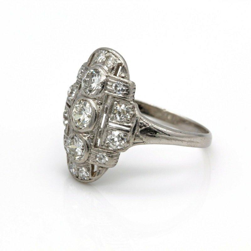 National Rarities ART DECO STYLE PLATINUM OLD EUROPEAN CUT DIAMOND RING 0.80 CTW SIZE 6 JB36-10