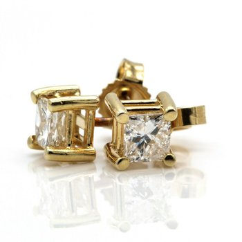 14K YELLOW GOLD BRILLIANT PRINCESS CUT 0.70 CTW DIAMOND STUD EARRINGS #JB75-5