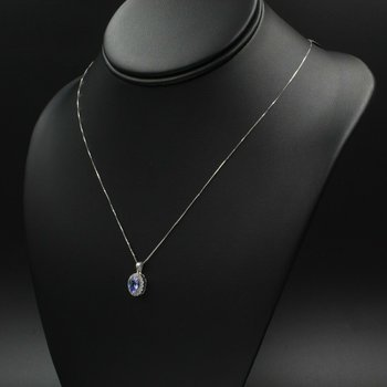 "14K WHITE GOLD 0.85 CTW OVAL TANZANITE & 0.32 CTW DIAMOND 18"" NECKLACE #988B-7"