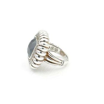 JOHN HARDY BATU BEDEG HEMATITE & DIAMOND RING STERLING SILVER SIZE 7 NR #D11-6
