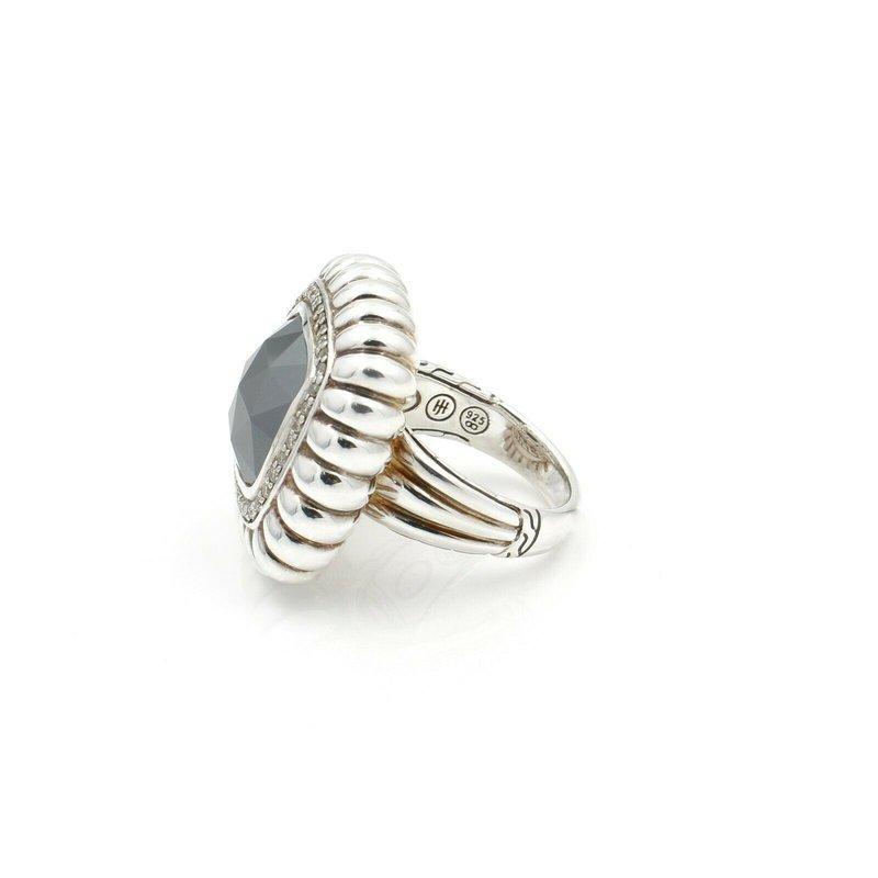 John Hardy JOHN HARDY BATU BEDEG HEMATITE & DIAMOND RING STERLING SILVER SIZE 7 NR #D11-6