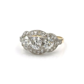 ANTIQUE PLATINUM 14K YELLOW GOLD 2.9 CTW OLD EURO DIAMOND TWO TONE RING E-320
